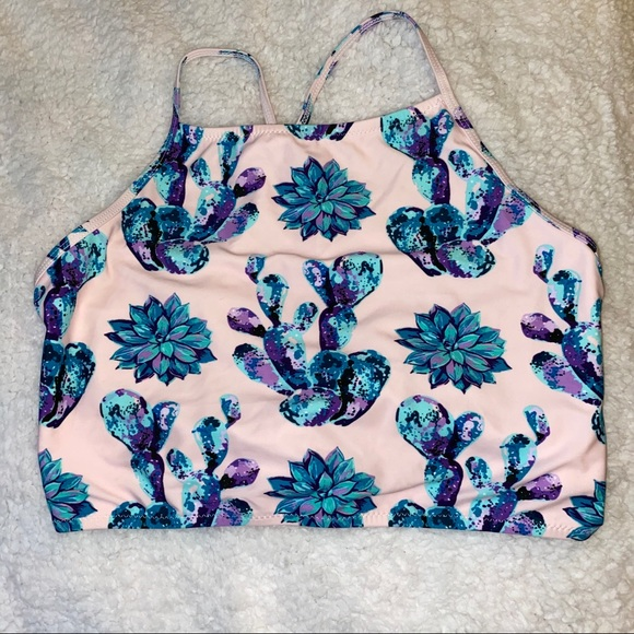 Cupshe Other - NEVER WORN Succulent High Neck Bikini Top